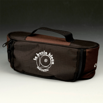 Horizontal Nylon Canvas Boules Bag - Black/Brown