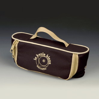 Horizontal Nylon Canvas Boules Bag - Black/Beige