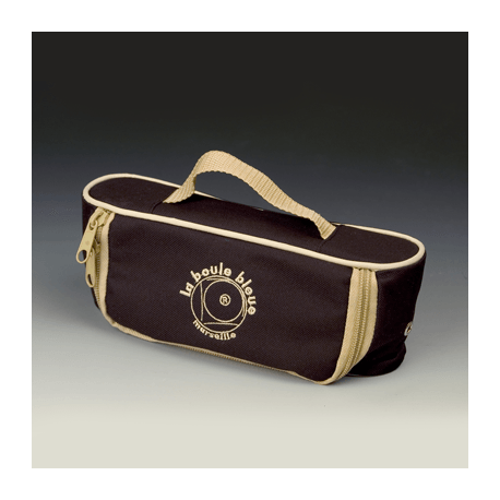 Sacoche 3 boules horizontale toile nylon – noir/beige